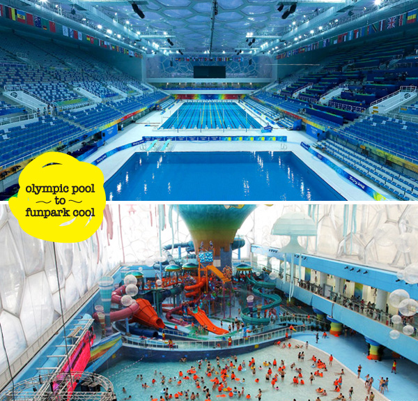 Beijings Olympic Pool Transformed To A Wacky Water Park