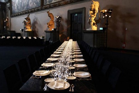 Reception dinner set up for the official opening of the Gucci Museo on the 26 of September 2011