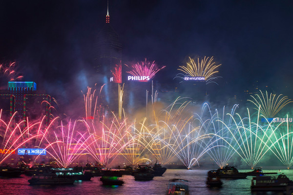 Fireworks in Victoria harbour in Hong Kong. Photograph: Jerome Favre/EPA