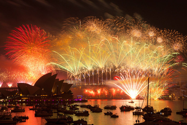 Fireworks light up Sydney harbour in Australia. Photograph: Damian Shaw/EPA