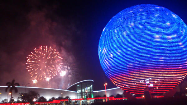 Fireworks in Manila's Mall of Asia in Pasay where the iconic globe provides the backdrop. Photograph: Sherbien Dacalanio/Demotix/Corbis