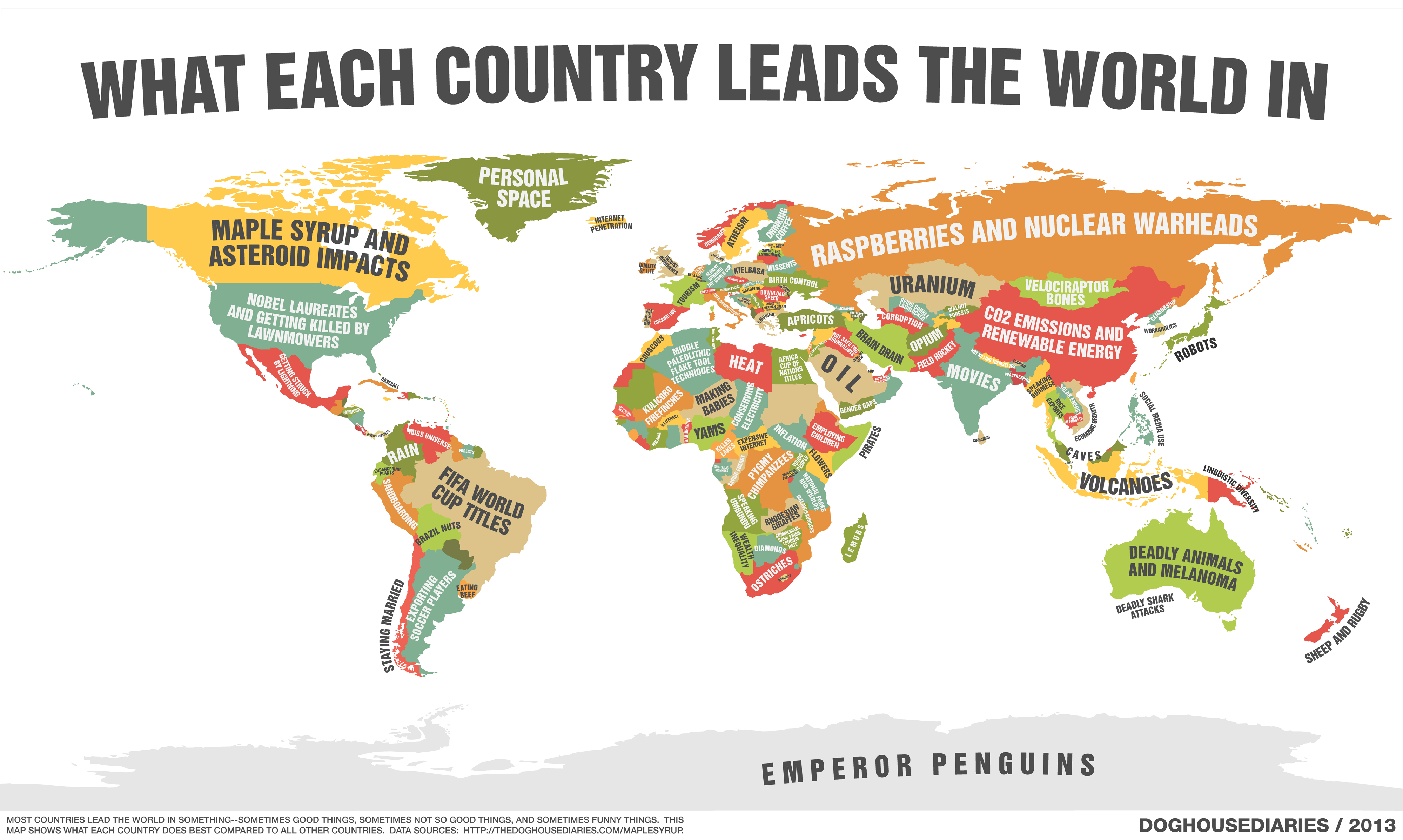 a map of what every country leads the world in